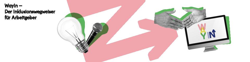 Banner zur Abschlussveranstaltung WayIn – Links oben steht der Titel, dann kommt eine Glühbirne vor einem quer gestellten N rechts daneben reichen sich zwei Hände die Hand vor einem Bildschirm auf dem das WayIn-Logo eingeblendet ist.